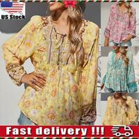Womens Lace Up V-neck Floral Boho Blouse Ladies Loose Swing Casual Shirt Tops