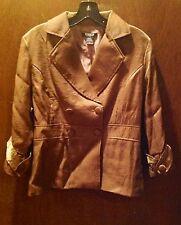 MOKA Sport Shimmer Solid GOLD Double Breast Rayon / Nylon Jacket Size M
