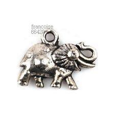 5 pièces BRELOQUES CHARM PERLE ELEPHANT 12X16mm / CREATION BIJOUX BRACELET #B748