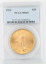 1924 $20 St. Gaudens Gold Double Eagle Graded by PCGS as MS-65! Beautiful Color!