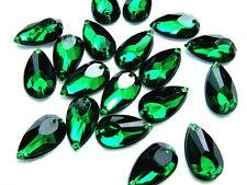 80 Green Acrylic Teardrop Pear Beads 9x17 mm Rhinestone Gems Flatback Sew on