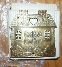 Nos Vintage Brass God Bless Our Home House Door Sign Plaque India Current 1980's