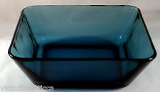 Collectible Dark Turquoise Blue Glass Square Shaped Serving Bowl