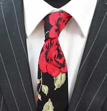 Tie Neck tie Slim Black with Large Red Rose Floral Quality Cotton T6031