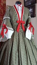 Civil War Reenactment Green Ladies Fancy DayDress Chemisette, UnderSleeves Sz 16