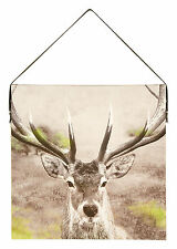 Stag Deer Woodland Canvas with Faux Leather Strap Canvas Wall Art Picture