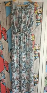 Tenki Womens Blue Floral Maxi Dress with side slits Size L/XL Worn once