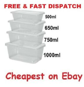 20 Plastic Food Takeaway Containers Microwave Freezer Safe Tubs Boxes Lids