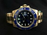 Rolex Submariner 116618 18k Yellow Gold Blue Time Lapse Bezel 40mm