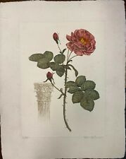 Rose with Pedestal by Victor Hohne - Etching on Homemade Paper