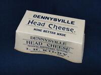 Antique Dennysville Maine Hog Head Cheese Advertising Box I.H. Kilby Original