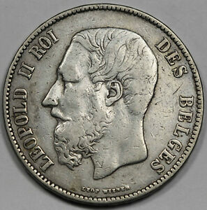 Belgium 1873 5 Francs 25 Gram Silver Coin VF/XF KM# 24 Leopold II