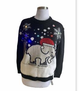 Ivory Ella Christmas Sweater Medium Holiday Light Up Ugly Limited Edition
