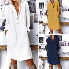ZANZEA Damen Langarm V Neck Kleid Shirtkleid Plain Baumwolle Button Maxikleid