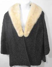 Ivory Mink Collar Black Faux Persian Lamb Jacket 3/4 Sleeves Saul Turner S-M