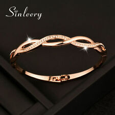 Hollow Charm Crystal Cross Bracelets Bangle For Women Rose Gold Plated Jewelry