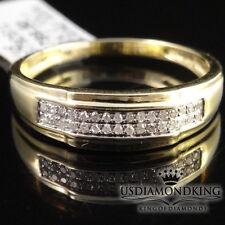MEN'S 10K 100% YELLOW GOLD GENUINE DIAMOND PINKY WEDDING RING BAND NEW 5MM SZ 10