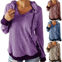 Women Long Sleeve Ladies Hooded Pullover T-Shirt Blouse Jumper Tops Sweatshirt