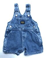 OshKosh Boy Girl Infant Baby Bib Denim Overalls Shortalls Small Blue Shorts