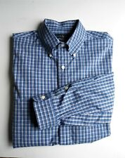 Men's Ralph Lauren Blue Plaid Long Sleeve Stretch Poplin  Shirt Sz L/G