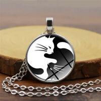 Yin Yang Cat Round Pendant Choker Statement Silver Necklace Jewelry For Women