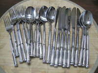 NEW 27 pc Hampton Silversmiths Hanover 18/10 Stainless Flatware SPOON FORK KNIFE
