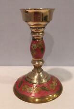 """Vtg Cloisonne Solid Brass 8"""" Candlestick Holder Floral Design Made In India"""