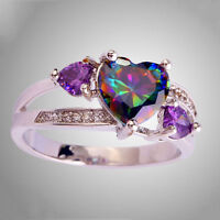 Hot Rainbow & White Topaz Amethyst Gemstone Silver Ring Sz 6 7 8 9 10