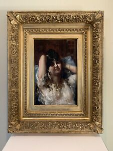Edouardo Vitali Oil Painting of Peasant Gypsy Woman Italian Artist