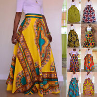 Women Dashiki Print High Waist Evenning Party Long Maxi African Skirt  Summer US