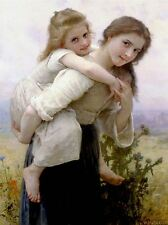 WILLIAM ADOLPHE BOUGUEREAU NOT TOO MUCH TO CARRY OLD ART PAINTING PRINT 3130OMA