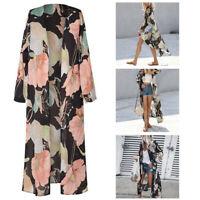 Women Loose Blouse Summer Chiffon Shawl Kimono Long Sleeve Cardigan Tops GEMS