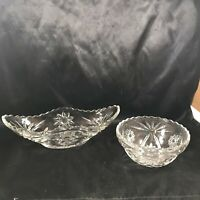 Pair of Vtg Anchor Hocking Pressed Glass Star of David Bowls Round and Oblong