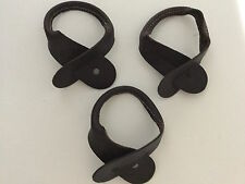 New, Brown, Leather Suspenders / Braces, Button-on Replacement Straps, Set of 3