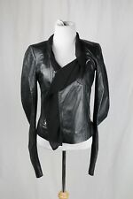 Rick Owens Black Asymmetrical Leather Jacket Silk Chiffon Trim Size US 10 $3270