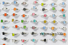 FREE Wholesale Lots Jewelry 10Pcs Natural Cat Eye Gemstone Silver Plated Rings
