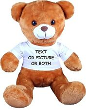 Personalised Teddy Bear 33cm Lovely Kids Birthday Gift Soft Photo/Text Print New
