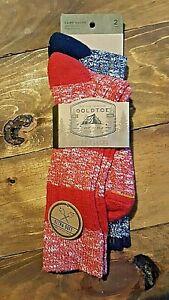 Gold Toe Camp Socks 2 Pr Blue Red Shoe Size 6 - 12.5 Ultra Soft Warm