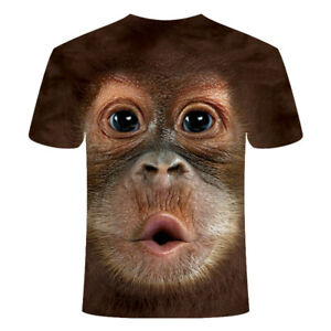 Fashion Men Funny Gorilla Monkey 3D Printed T-shirt Casual Short Sleeve Top