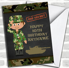 Green Boy Camo Army Children's Birthday Greetings Card