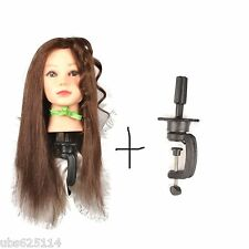 TH100A Hairdressing 100% Real Hair Training Head Doll Mannequin with clamp