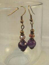 Amethyst gemstone crystal drop dangle earrings xmas bridesmaid gift for her