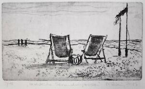 """Reblin, Maren (1943 Swinemünde) """"Herbstliche Strandimpression"""" Kaltnadelrad."""