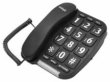 Aidapt Easy To Read Big Button Black Corded Hands Free Home Phone Telephone