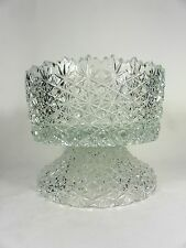 Cut Crystal Pedestal Punch Bowl or Centerpiece Bowl Buttons and Daisies