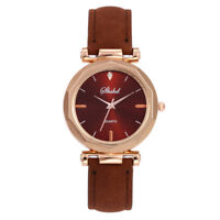 Fashion Lady Leather Watch Luxury Analog Quartz Crystal Wristwatch