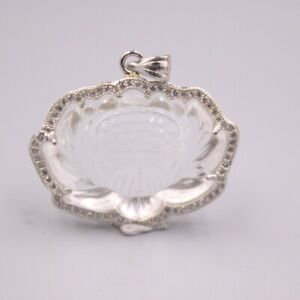 New 925 Sterling Silver and White Chalcedony Lotus Flower Pendant 1.29inch H