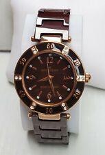 Ladies Anne Klein Maroon Gold Tone Chrystal Accent Bazel Quartz Watch 10/9416 A1