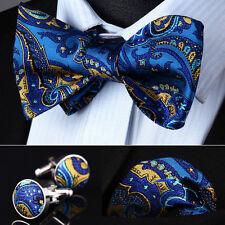 BZP12B Blue Yellow Paisley Men Silk Self Bow Tie handkerchief Cufflinks set