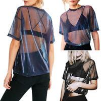 Summer Sexy Mesh T-shirt Women Short Sleeve O-Neck Loose Hollow Tees Tops R1BO
